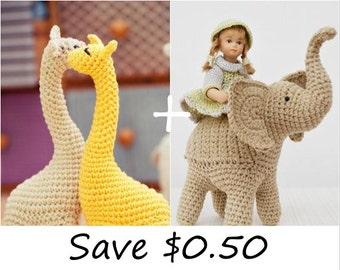 Crochet patterns of Miss Giraffe and Trunk-Up Elephant, amigurumi patterns, pattern bundle, discount, sale, toy pattern, home decor pattern
