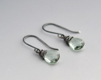 Dangle Earrings - Drop Earrings - Green Amethyst Earrings  - Oxidized Sterling Silver Earrings - February  Birthstone (0034E)