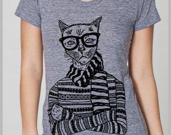 Women's Hipster Cat T Shirt  American Apparel Tee S, M, L, XL  8 COLORS Full Spectrum Apparel