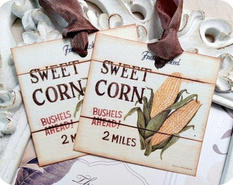 Corn Gift Tags (6) Tags for Food Gifts-Food Labels-Corn Favor Tags-Treat Tags-Fruit Gift Tags-Jar Labels-Shabby Gift Tags-Thank You Tags