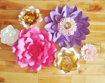 Set of 6 Paper Flowers - Paper Flower Backdrop | Baby Nursery | Paper Flowers | Wall Decor | Paper Flower Wall Art | Baby Nursery Decor