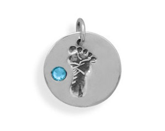Footprint Charm with Blue or Pink Crystal, 925 Sterling Silver