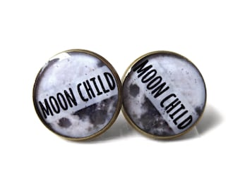 Moon Child Stud Earrings Pastel Goth Grunge Boho Jewelry Boho Chic Hippie Outer Space Bohemian Jewelry, Gypsy Moon Earrings, Science Jewelry