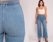 Bell Bottoms Jeans High Waisted 70s Denim Pants BRAIDED WAIST Boho Hippie Jeans 80s Vintage Bohemian Blue Jean Flared Medium 29 10