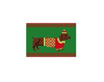 Christmas Weenie 3 Panel, Peyote/Brick PDF Pattern