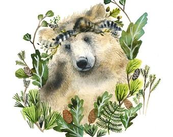 Ours et conifères - reproduction d'aquarelle - ours Art