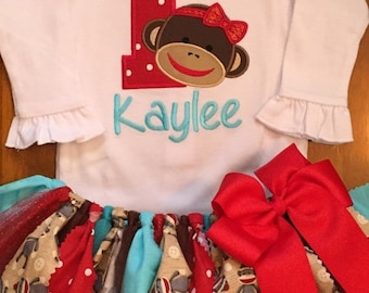 Red and Aqua Girly Sock Monkey Birthday Tutu Outfit