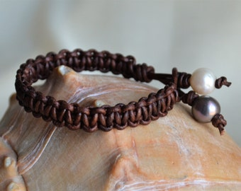 Pearls On Leather Cuff Bracelet Two Pearls Closure Handwoven Boho Bohemian Leather and Pearls Holiday Gifts For Her For Him Yevga