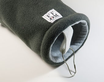 Small guinea pig fleece tunnel tube | sugar glider | rat hammock |  hedgehog | dark/light grey | fleece cage accessories | READY TO SHIP