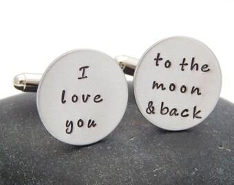 I Love You to the Moon and Back Cuff Links - Wedding Gift Groom Anniversary Christmas Gift Cuff Links Custom Cufflinks