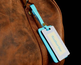 Rain Personalized Leather Luggage tag