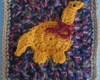 Muttaburrasurus Dinosaur Square rugalugs crochet pattern.
