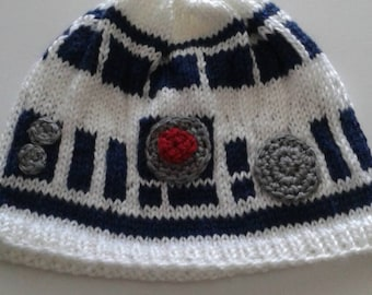 Two  adult R2d2 beanies for a special price, star wars, white and blue, the force awakens