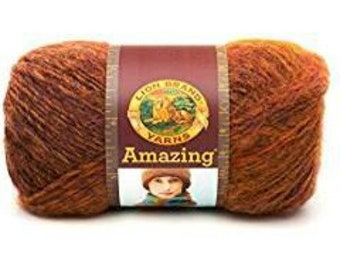 Lion Brand Amazing Yarn Mesa 825-204 Wool Acrlic Blend, Copper Mustard Brown Supplies, Knitting, Crochet, Limited Supply, Discontinued Color