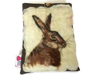 Luxury padded iPad/tablet case, featuring original artwork hare