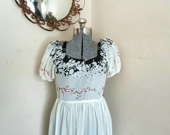 Vintage 1970's Dress Light Airy Cherry Blossom Time Floral Dress
