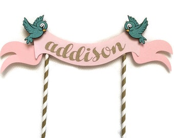 Princess themed Cake Topper ||  Blue Birds || Gold & Pink Topper || Cinderella