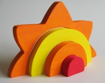 Large Sun Stacker  Waldorf Wooden Toy- Earth Day
