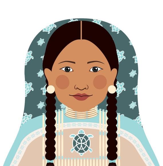 Native American Doll Art Print traditional folk dress matryoshka