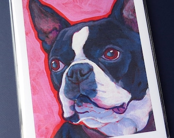 BOSTON TERRIER Dog 8x10 Signed Art Print from Painting by Lynn Culp