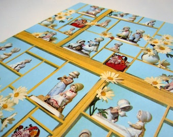 Vintage 1980 Any All Occasion Wrapping Paper Blue Birthday Gift Wrap Ceramic Figurines in Shadow Box