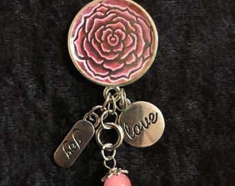 Pink Rose Dangle Pendant