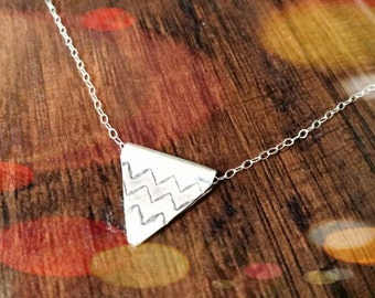 Doublesided Triangle Necklace,Fine Silver Charm Necklace,Karen Hill Tribe Jewelry