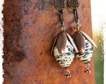 Chunky dangle earrings, Book page earrings, Boho drop earrings, Lightweight bohemian statement earrings, Copper drop earrings