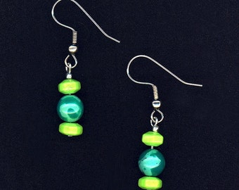 Lime Green and Blue Turquoise Earrings to go with Matching China Shard Necklace