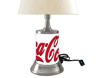 Coca Cola Lamp With Shade, White Background