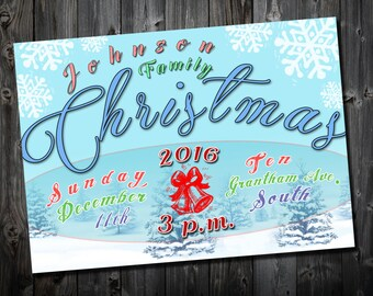 Family Christmas Party Invitation, Personalised Digital File