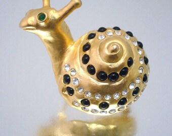 Snail Brooch Large Rhinestone Black Gold Clear Figural NOS Unused