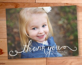 Kids Thank You cards, Script, Typography, Childrens Thank You Cards, Birthday Thank You, Custom Thank You photo Card, Swirls, Loops