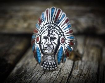 Sterling silver Navajo Chief in a Turquoise & Coral headdress ring S ~ 8 thru 14