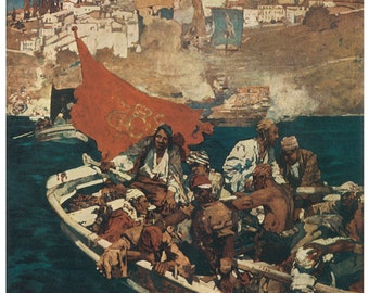 Hand-cut wooden jigsaw puzzle. PIRATE BUCCANEERS in DINGHY. Brangwyn. Fairytale gift. Wood, collectible. Bella Puzzles.