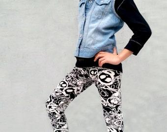 Girls/Kids Doodle Skull Printed Leggings for Riot Grrrls, Punk and Goth Kids