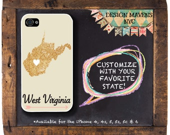 West Virginia iPhone Case, Personalized State Love iPhone Case, iPhone 4, 4s, iPhone 5, 5s, 5c, iPhone 6, 6s, 6 Plus, SE, iPhone 7, 7 Plus