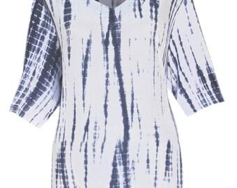 Women's Plus Size Tie Dye Tunic Top | Plus Size Tunic Top | Blue Navy Women's Top | Plus Size Clothing for Women, Plus Size Clothes XL 1X 2X
