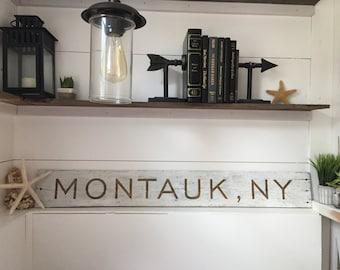 MONTAUK, NY Hand Painted Reclaimed Wood Sign