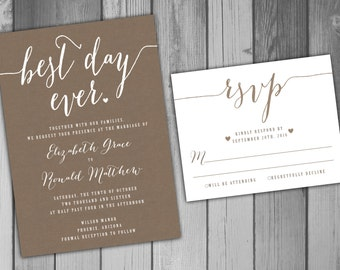 Wedding Invitation Wedding Invite Rustic Wedding Romantic Wedding Printable Best Day Ever Invitation Set Burlap Wedding