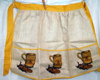 Vintage Linen Apron - 1960s - Harvest Gold - New