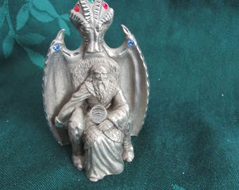 Vintage   Spoontiques Wizard Sitting in Devil Chair, Pewter