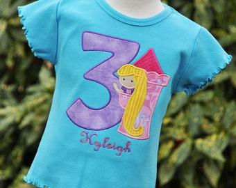 Personalized Rapunzel Birthday Ruffle Shirt / Short Sleeve