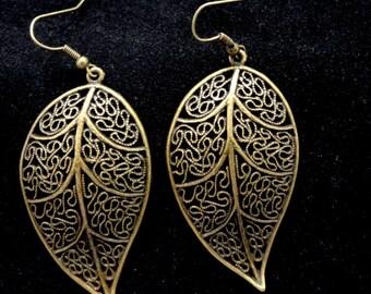 Bronze leaf earrings, Large leaf earrings, Bronze earrings, Boho style earrings