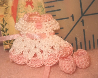 Miniature Doll Dress Handmade Crochet with matching tiny Booties
