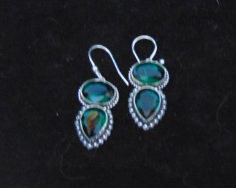 Dark Green Tourmaline and Sterling Silver Earrings