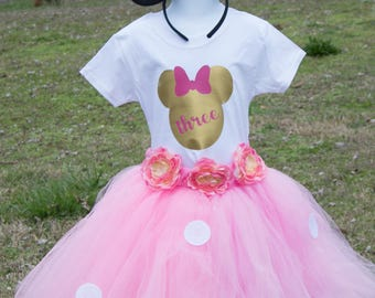 mouse Birthday Shirt Tutu outfit pink Handmade Tulle Skirt Personalized Customized Embroidery Applique pink gold  girl