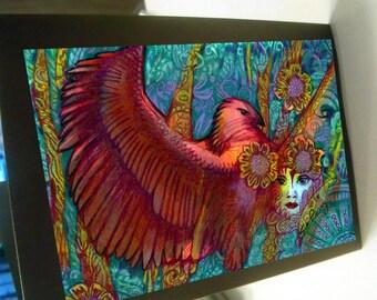 greeting card print of original art-  red phoenix mythical fantasy  Zentangle