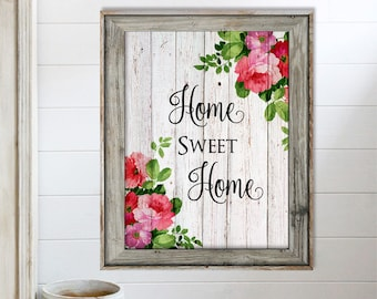 SALE-Home Sweet Home On Barn Wood With Roses- Art Print - Wall Art Designs- Gallery Wall- Quote Prints-Mother's Day Gift-Farmhouse Decor