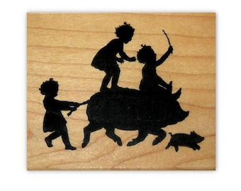Children riding Pig Silhouette mounted rubber stamp, kids, summer fun, barnyard, farm antics, Crazy Mountain Stamps #1